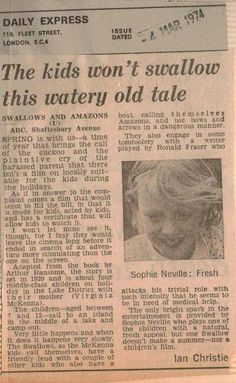 Ian Cristie's article in the Daily Express 4th March 1973 on 'Swallows & Amazons'