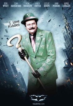 Ron Swanson as the Riddler [Parks and Recreation x Batman] Parks And Rec Memes, Parks And Recreation, Parcs And Rec, Parks Department, Leslie Knope, Ron Swanson, Riddler, Best Shows Ever, Best Tv