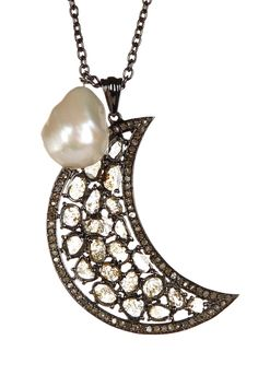 Black rhodium plated sterling silver, freshwater pearl, champagne diamonds 1.20 ctw