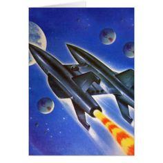 Vintage Retro Sci Fi Spaceship 'Three Earths' Greeting Card