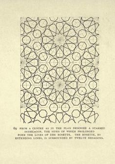 "Moorish remains in Spain; being a brief record of the Arabian conquest of the Peninsula - Calvert, Albert Frederick, 1872-1946. Veiw the book, here. ""The tilework on the Bukhara madrasa is an example of the stylized geometric strap-work—typically based on star or polygon shapes—that is emblematic of traditional Islamic ornamentation. This form of design is known as girih patterns, from the Persian word for ""knot."" It is generally believed that such designs were constructed by drafting zigzag ou"