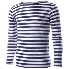 FLATSEVEN Mens Striped Crewneck Long Sleeve Tee Shirt (1.405 RUB) ❤ liked on Polyvore featuring mens, men's clothing, men's shirts, men's t-shirts and men