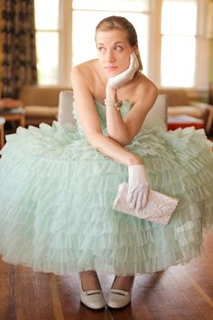 Next theme: An old fashioned Girl Cotillion Dresses, Prom Dresses, Wedding Dresses, Green Fashion, Girl Fashion, Vintage Prom, Lace Gloves, Prom Night, Ruffles