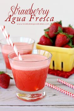 """Strawberry Agua Fresca is a refreshing fruit drink served throughout Mexico. Agua fresca means """"fresh water"""" in Spanish! I love Spring. It's definitely my favorite season! I love shopping for all of the fresh fruit Fruit Drinks, Smoothie Drinks, Healthy Drinks, Smoothies, Beverages, Party Drinks, Refreshing Drinks, Summer Drinks, Fresco"""