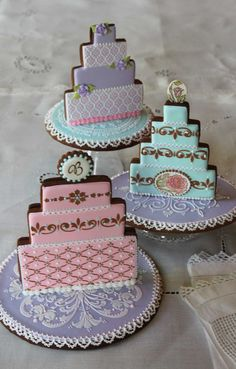 Stenciled and needlepoint wedding cake cookies by Julia M. Usher