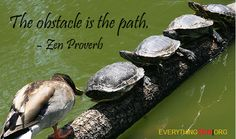 """The obstacle is the path.""             – Zen Proverb   