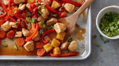 No wok necessary for this stress-free, stir fry-inspired dinner! Bite-size pieces of chicken are tossed with a flavor-packed honey-teriyaki sauce, pineapple chunks and red pepper strips, spread on a sheet pan and popped in a hot oven for a quick and simple dinner.