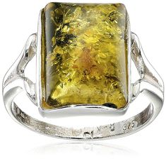 Sterling Silver Green Amber Rectangular Ring *** Visit the image link for more details. #Jewelry