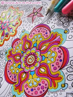 Coloring in a page from my Abstract Coloring Book, using Sakura Glaze Pens and Sakura Souffle Pens.   http://www.art-is-fun.com/abstract-coloring-pages.html