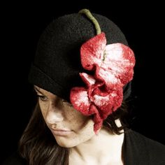 Cora Cloche- Hand Felted Merino- Leaf- Flower- Hat- Women- Nature- Art Nouveau
