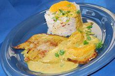 Escalopes de veau à la crème, au curry et à l'orange