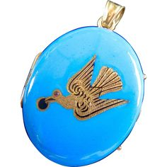 Early Victorian 14K Gold Swallow Blue Enamel Locket from tiques-n-treasures on…