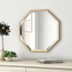 Zipcode Design Morganton Modern & Contemporary Beveled Bathroom / Vanity Mirror Finish: Gold, Size: x Contemporary Wall Mirrors, Contemporary Furniture, Modern Contemporary, Small Bathroom Mirrors, Bathroom Ideas, Bathrooms, Beveled Mirror, Mirror Mirror, Octagon Mirror
