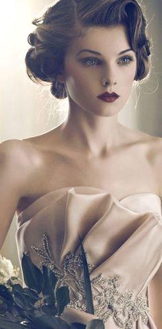 Vintage Makeup Look With Purple Lips