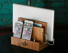 Customized Bamboo Multi Charging Station | Eco-Friendly | Organizes Tech and Cords | Dock | Charges Phone, Tablet, Laptop