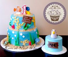 First Birthday Finding Nemo Cake and Smash Cake