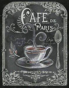 Tre Sorelle Studios: 'Chalkboard Paris Coffee I' Chalkboard Lettering, Chalkboard Designs, Hand Lettering, Coffee Chalkboard, Chalkboard Drawings, Chalkboard Ideas, Images Vintage, Vintage Diy, Chalk It Up