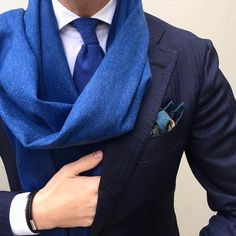 "Shop The Look - ""Viola Milano 7-fold untipped 100% Cashmere - Denim"" tie, ""Luxury double face 100% Cashmere - Denim"" scarf, ""Classic slimline - White"" shirt, ""Classic Unicorn Wool/Silk - Navy/Sea"" pocket square & mix of bracelets... Worldwide shipping at www.violamilano.com  #violamilano #handmade #madeinitaly #luxury #cashmere"