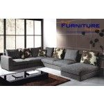 $2135.00  TOSH Furniture - Gray Fabric Sectional Sofa - TOS-ANM9619-3