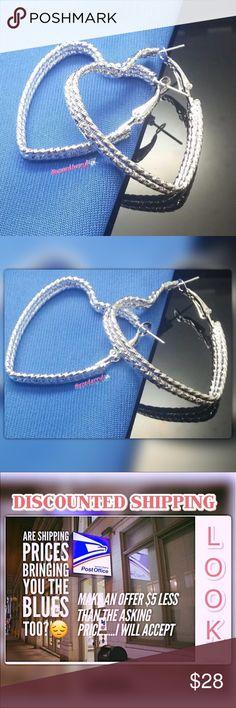 925 Shinning Silver Heart Hoop Earrings No Stone Silver Hoop Heart Shaped Earrings approx size 35mm x 40mm x 6mm @roedarryl Jewelry Earrings