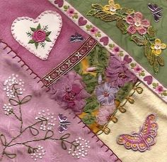 I ❤ crazy quilting & ribbon embroidery . . .  Breast Cancer 2010, ~By Ellen Pfitzner of New York