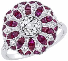 Art Deco 0.80ct Center Diamond 0.94ct Ruby Ring