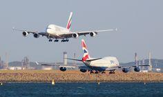 Emirates Airbus A380-800 and British Airways Boeing 747-400.