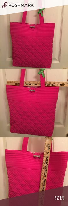 """Vera Bradley Pink Quilted Tote NWOT Vera Bradley Hot Pink Quilted Tote. Brand new with Vera Bradley Ribbon but no tag. Never used. Actual size 13"""" tall x 14"""" wide x 4"""" deep. Pretty silver tone buckle closure. Vera Bradley Bags Totes"""