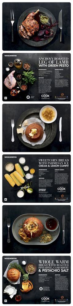 Love this layout  http://www.behance.net/gallery/MasterchefWW-Recipe-Placemats/9872991