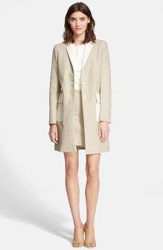 Theory 'Lagata' Linen Blend Leather Trim Jacket available at #Nordstrom