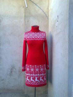 Платья ручной работы. Ярмарка Мастеров - ручная работа. Купить вязаное платье жаккардовое. Handmade. Ярко-красный, платье теплое
