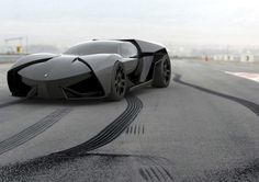 "If Batman had a ""Cars I Dream About"" board, this would be the first pin.    This is Tanevski's Lamborghini Ankonian, a proposal for a Lambo hybrid."