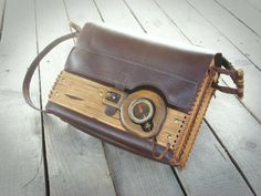 Unique handmade leather -  wood shoulder bag with an antique 1930 ww2 compus / made to order