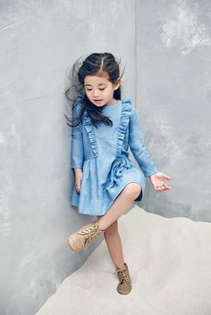 little girl cotton dress with ruffle side seam detail in Denim - by Nellystella