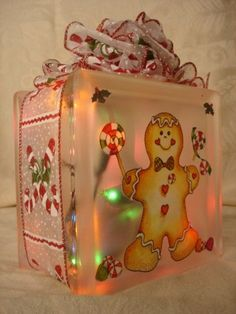 Mini Gingerbread Decorated Glass Block