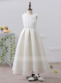 A-Line/Princess Jewel Ankle-length Beading Appliques Satin Sleeveless Flower Girl Dress Flower Girl Dress