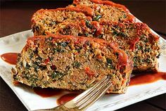 Paleo Meatloaf 【ツ】 2 lb ground beef or turkey, 3 eggs, ½ cup almond flour, ½ onion, 10 oz pkg frozen spinach, ½ of a red bell pepper, ½ cup Paleo or other BBQ Sauce, 1 tsp of chili powder, 1 tsp salt, 2 garlic cloves, 1 tsp  oregano, 1 tsp thyme, ½ tsp cayenne, 2 TBsp olive oil