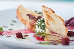 Herb crusted Vulscombe goats cheese, pickled beetroot and dressed herbs Beetroot, Goat Cheese, Fine Dining, Pickles, Goats, Herbs, Ethnic Recipes, Food, Herb