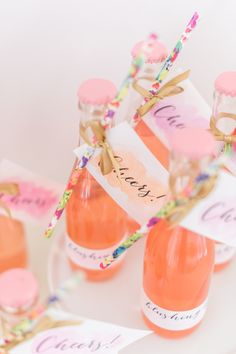 Photography : Leila Brewster Photography Read More on SMP: http://www.stylemepretty.com/2016/02/16/diy-refreshing-cocktail-favors-in-a-glass-bottle/