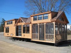 Log Cabin Homes On Wheels - The ultimate vacation home you can travel with. Tiny House Big Living, Shed To Tiny House, Long House, Tiny House Cabin, Small House Plans, House Floor Plans, Log Cabin Mobile Homes, Log Cabin Homes, Cabin Design