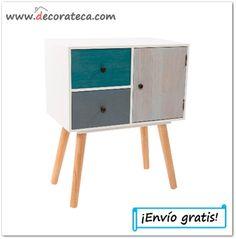 """Mesa auxiliar de madera """"Aqua"""". Decoración nórdica - DECORATECA.COM"""