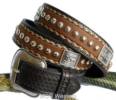 Nocona Western Mens Belt Leather Cowboy Prayer Concho Tan...