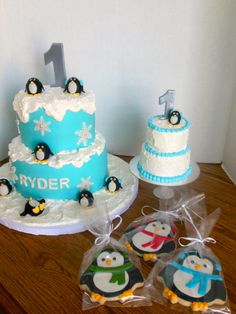"""Winter """"One""""derland Cake, Smash Cake and Cookies"""