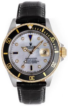 Rolex Submariner Custom Mother of Pearl Diamond Saphhire Dial Mens Automatic Watch 16613