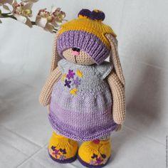 Купить Зайка Василиса - сиреневый, фиолетовый, тильда заяц, вязаная игрушка, вязаный заяц