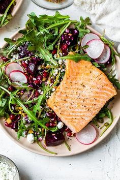 This beautiful heart-healthy salad makes salmon filets a focal point nestled atop the colorful salad with many textures. Salmon Salad, Beet Salad, Main Dish Salads, Main Dishes, Veg Recipes, Healthy Recipes, Salmon Recipes, Seafood Recipes, Salmon On The Stove