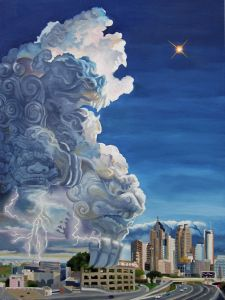 Threatening Weather 24″ x 18″ oil on canvas.  This is a giant thunderhead about to move in over Atlanta.