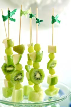 Green Healthy Fruit Skewers for Summer