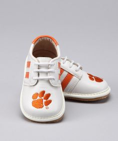 Take a look at this White Clemson Squeaker Sneaker - Kids on zulily today!