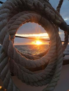 Sailing Sunset through rope and rigging photo Beach Ocean Nature Beautiful Sunrise, Am Meer, Tall Ships, Belle Photo, Beautiful Pictures, Scenery, Adventure, Photography, Sunsets